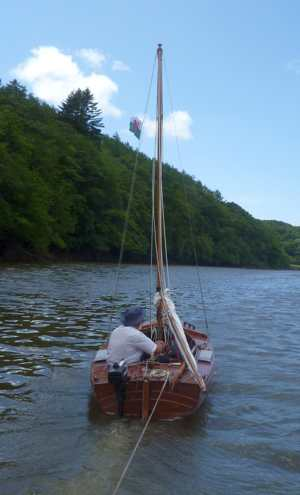Aiden towing our boat on the Eastern Cleddau